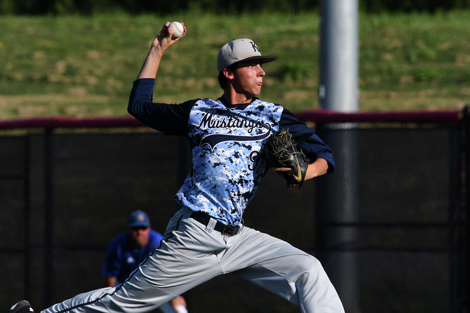 Kingwood senior pitcher Tanner Brooks works to a Beaumont Westbrook hitter in the top of the seventh inning of their Region III-6A Bi-District Baseball Playoff matchup at Crosby High School on May 5, 2018. Photo: Jerry Baker, For The Chronicle / Freelance