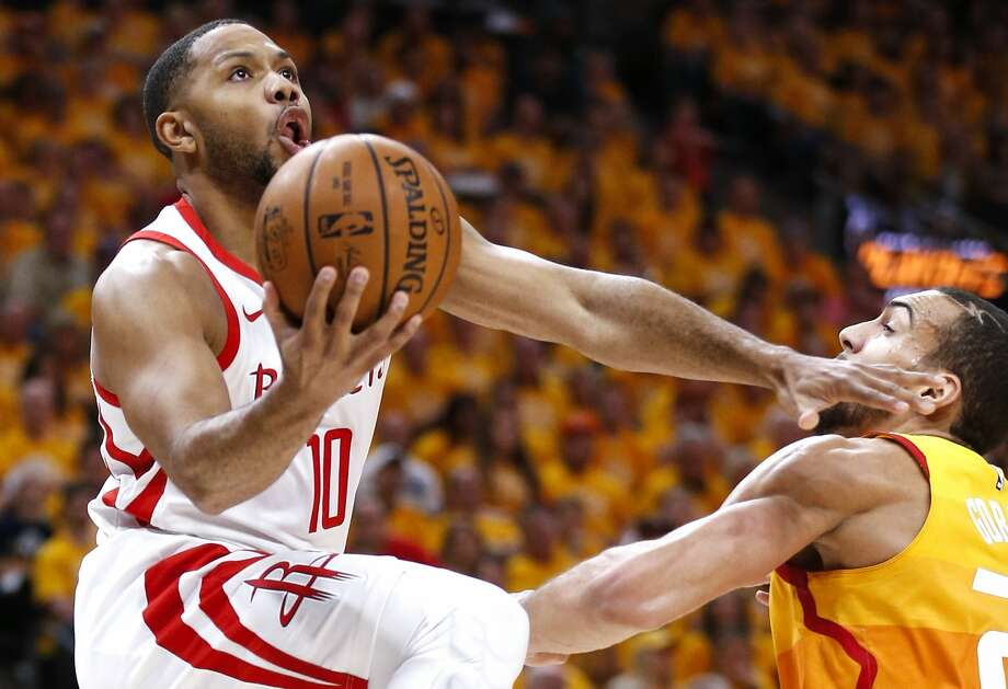Houston Rockets guard Eric Gordon (10) takes a shot against Utah Jazz center Rudy Gobert (27) Game 3 of the NBA second-round playoff series at Vivint Smart Home Arena Friday, May 4, 2018 in Salt Lake City. (Michael Ciaglo / Houston Chronicle) Photo: Michael Ciaglo/Houston Chronicle