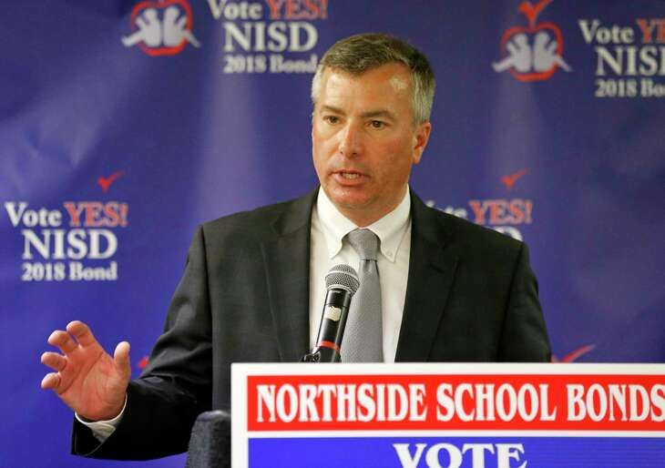 NISD superintendent Brian Woods speaks to supporters of the district's $850 million bond issue in May 2018. Woods recently testified at a Texas House committee in favor of House Bill 3, a school finance plan that would add $9 billion to public education over two years, including $2.7 billion to offset property taxes.