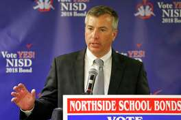 NISD superintendent Brian Woods speaks at a Northside ISD results watch party held Saturday May 5, 2018.
