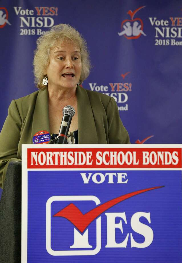 NISD board president M'Lissa Chumbley speaks at a Northside ISD results watch party held Saturday May 5, 2018. Northside is seeking approval for a record $848.9 million bond issue from voters. Photo: Edward A. Ornelas, Staff / San Antonio Express-News / © 2018 San Antonio Express-News