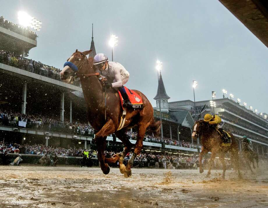 Justify with jockey Mike Smith in the saddle wins the 144th running of the Kentucky Derby at Churchill Downs Saturday May 5, 2018 in Louisville, Kentucky (Skip Dickstein/Times Union) Photo: SKIP DICKSTEIN