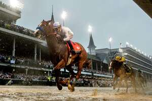 Justify with jockey Mike Smith in the saddle wins the 144th running of the Kentucky Derby at Churchill Downs Saturday May 5, 2018 in Louisville, Kentucky (Skip Dickstein/Times Union)