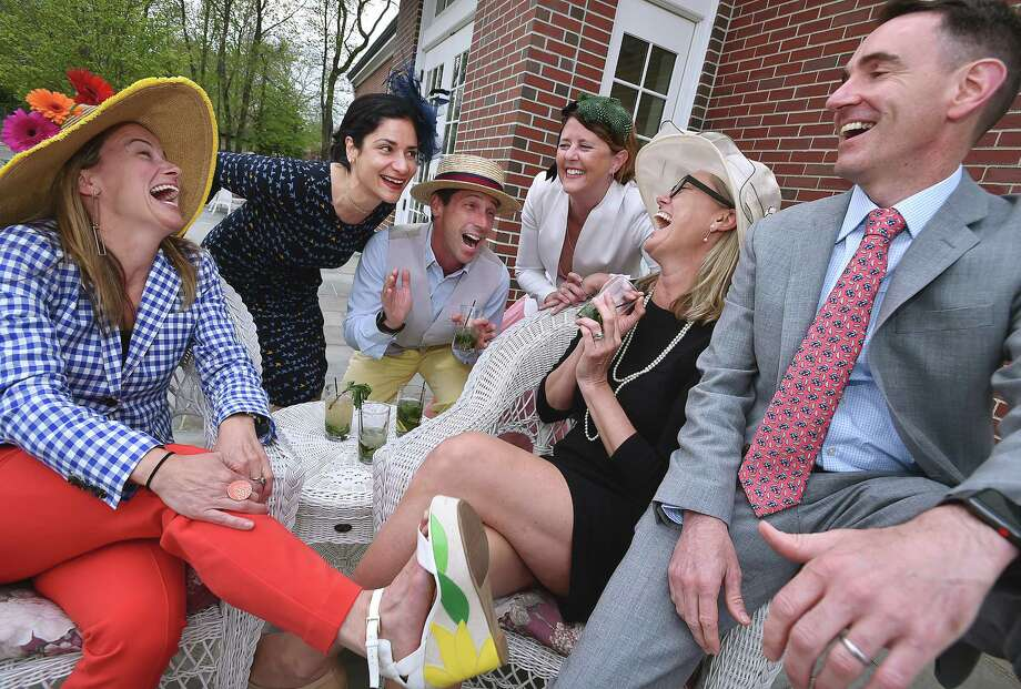 Mandy Bonz, Susan Kashaf, James Bonz, Kelly Streeter, Executive Director of the Guilford Foundation Liza Janssen Petra and Chris Ruser at the third annual Kentucky Derby Dinner Dance at St. George Church, Saturday, May 4, 2018, at 33 Whitfield St. in Guilford. The fundraiser is hosted by St. George Men's Group and 100 percent of the proceeds will benefit the Guilford Foundation. Photo: Catherine Avalone, Hearst Connecticut Media / New Haven Register
