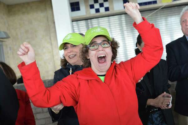 Ariel Levy from Westport celebrates with her mom Doree the news her father announced that their 'Team Ariel' has raised seventeen thousand dollars at this years Star 5K Run Walk & Stroll on Sunday May 6, 2018 in Westport Conn. The event in its 13th year was held at Sherwood Island State Park and benefits Star Inc. and its programs serving local people with intellectual and developmental disabilties