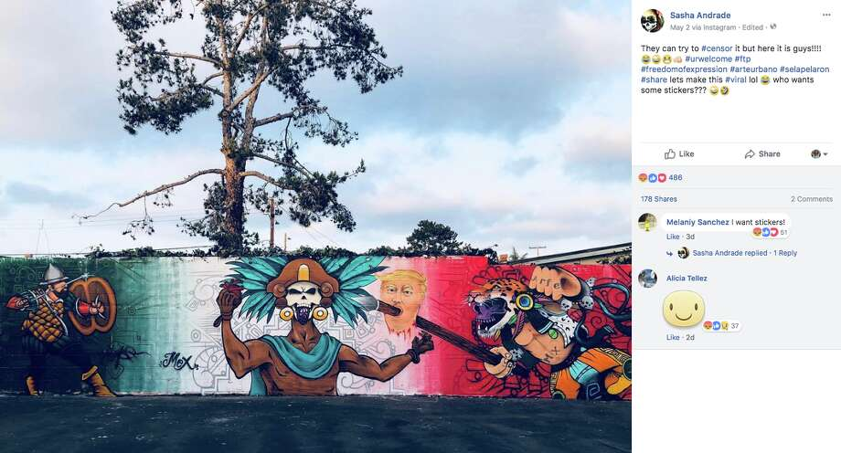 A mural depicting Donald Trump's head on a spear is causing controversy in Chula Vista, Calif. Photo: Screenshot Via Facebook