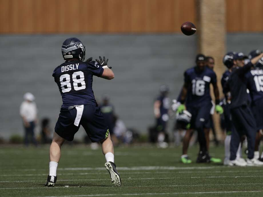 Seattle Seahawks tight end Will Dissly takes part in a drill Friday, May 4, 2018, during NFL football rookie camp in Renton, Wash. (AP Photo/Ted S. Warren) Photo: Ted S. Warren/AP
