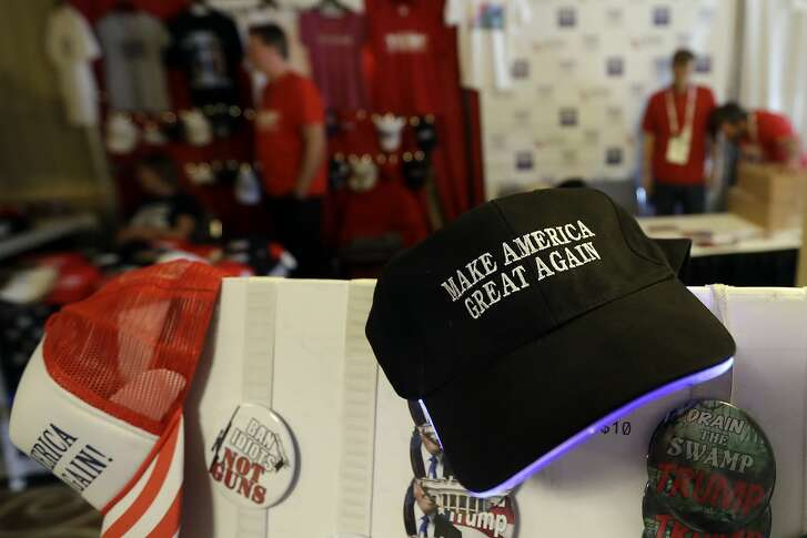 In this Saturday, May 5, 2018 photo,  items sit for sale during the California Republican Party convention in San Diego. California Republicans hoping to break a long losing streak are betting that anger over higher gas taxes and illegal immigration will give them an edge in races for governor and other marquee offices.(AP Photo/Gregory Bull)