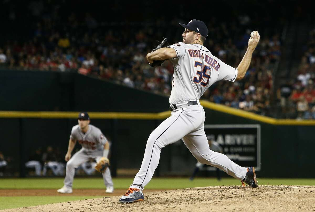 Houston Astros starting pitcher Justin Verlander throws a pitch against the Arizona Diamondbacks during the third inning of a baseball game Sunday, May 6, 2018, in Phoenix. (AP Photo/Ross D. Franklin)
