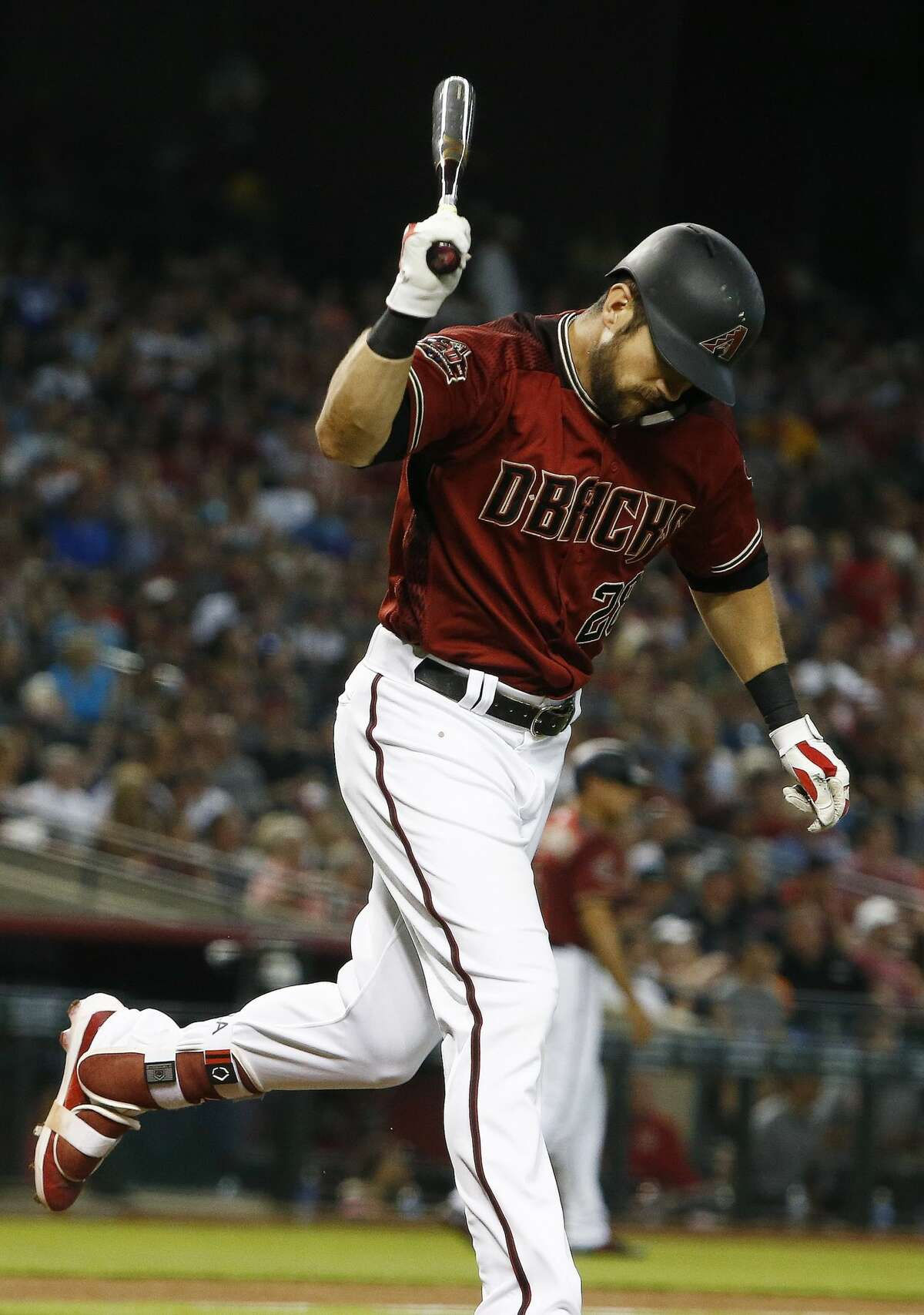 Arizona Diamondbacks' Steven Souza Jr. throws down his bat s he hits a pop fly-out against the Houston Astros during the fourth inning of a baseball game Sunday, May 6, 2018, in Phoenix. (AP Photo/Ross D. Franklin)