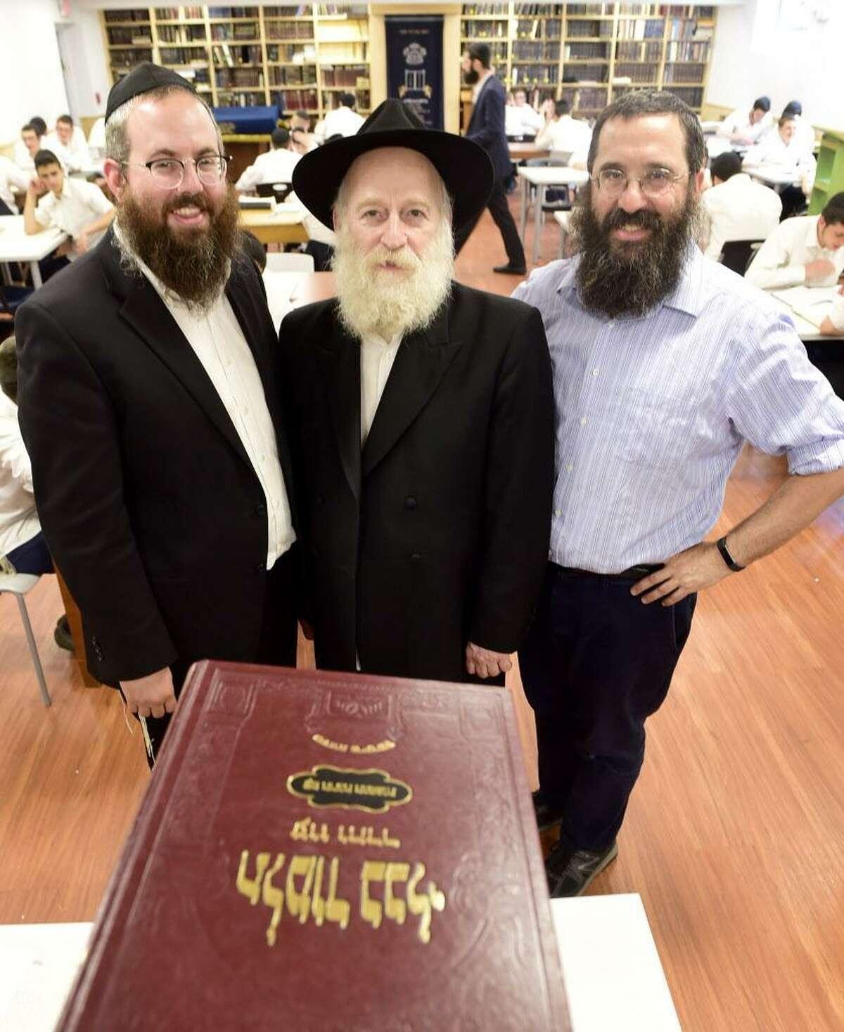 Rabbi Yosef Lustig, Rabbi Josef Kalmenson, and Mandel Deitsch, of the Yeshivas Beis Dovid Shlomo of New Haven.