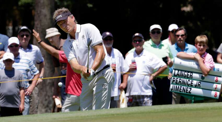 Bernhard Langer hits out of the bunker on the 8th green during the third round of the Insperity Invitational at the The Woodlands Country Club Sunday, May 6, 2018, in The Woodlands, TX. (Michael Wyke / For the Chronicle)
