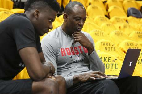 7443d671d6f Houston Rockets assistant coach Roy Rogers talks with Houston Rockets  center Clint Capela (15)