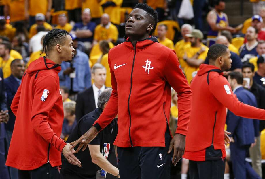 Houston Rockets center Clint Capela (15) slaps hands with  guard Gerald Green as he is introduced before Game 4 of the NBA second-round playoff series aganst the Utah Jazz at Vivint Smart Home Arena Sunday, May 6, 2018 in Salt Lake City. (Michael Ciaglo / Houston Chronicle) Photo: Michael Ciaglo/Houston Chronicle