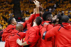 The Houston Rockets huddle before Game 4 of the NBA second-round playoff series against the Utah Jazz at Vivint Smart Home Arena Sunday, May 6, 2018 in Salt Lake City. (Michael Ciaglo / Houston Chronicle)