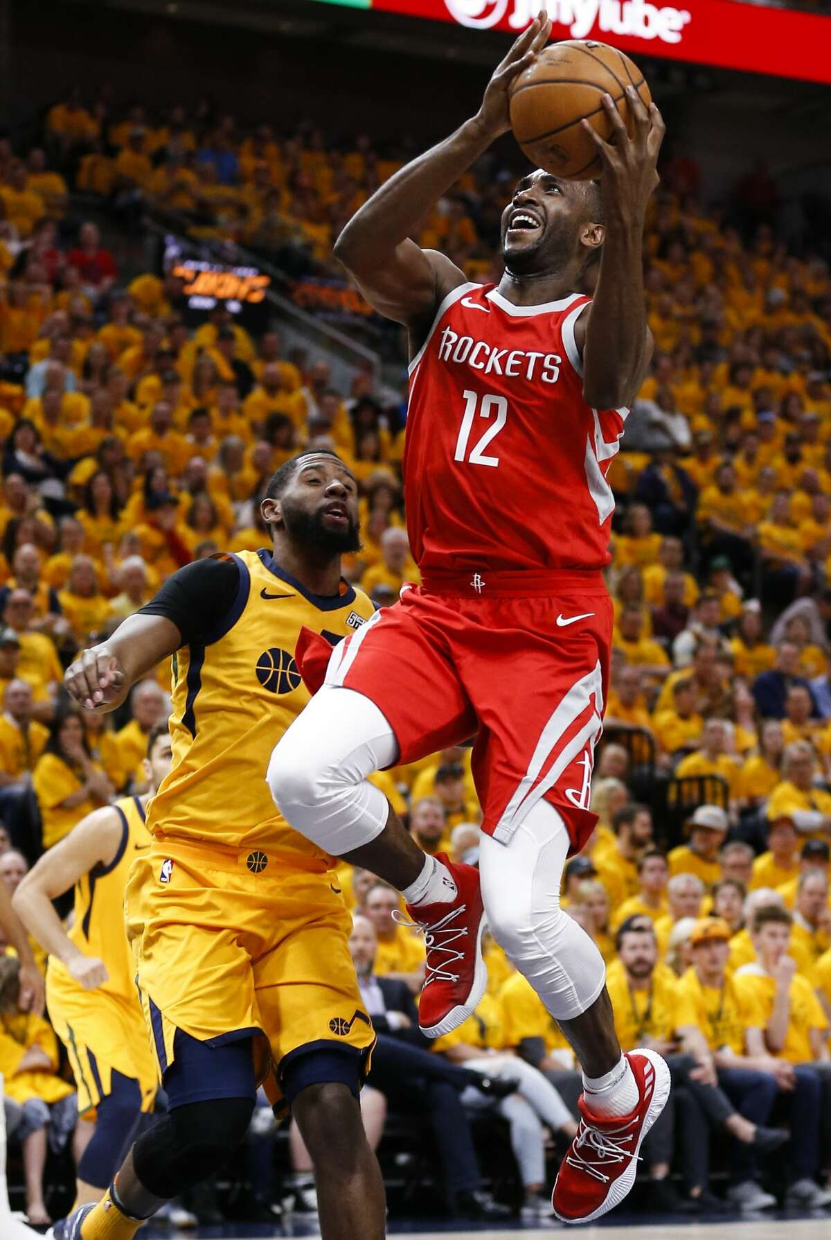 Houston Rockets forward Luc Mbah a Moute (12) takes a shot against the Utah Jazz during the first half of Game 4 of the NBA second-round playoff series at Vivint Smart Home Arena Sunday, May 6, 2018 in Salt Lake City. (Michael Ciaglo / Houston Chronicle)