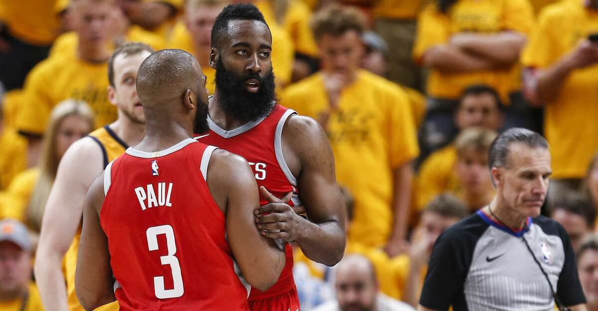 Houston Rockets guards Chris Paul (3) and James Harden (13) embrace during the second half of Game 4 of the NBA second-round playoff series at Vivint Smart Home Arena Sunday, May 6, 2018 in Salt Lake City. (Michael Ciaglo / Houston Chronicle)