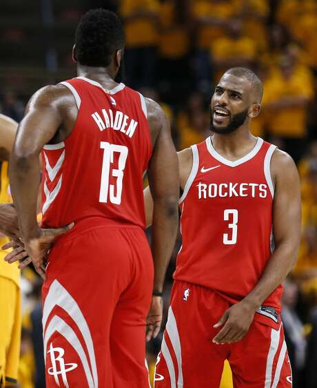 Houston Rockets guard James Harden (13) and Houston Rockets guard Chris Paul (3) embrace during the second half of Game 4 of the NBA second-round playoff series against the Utah Jazz at Vivint Smart Home Arena Sunday, May 6, 2018 in Salt Lake City. (Michael Ciaglo / Houston Chronicle) Photo: Michael Ciaglo/Houston Chronicle