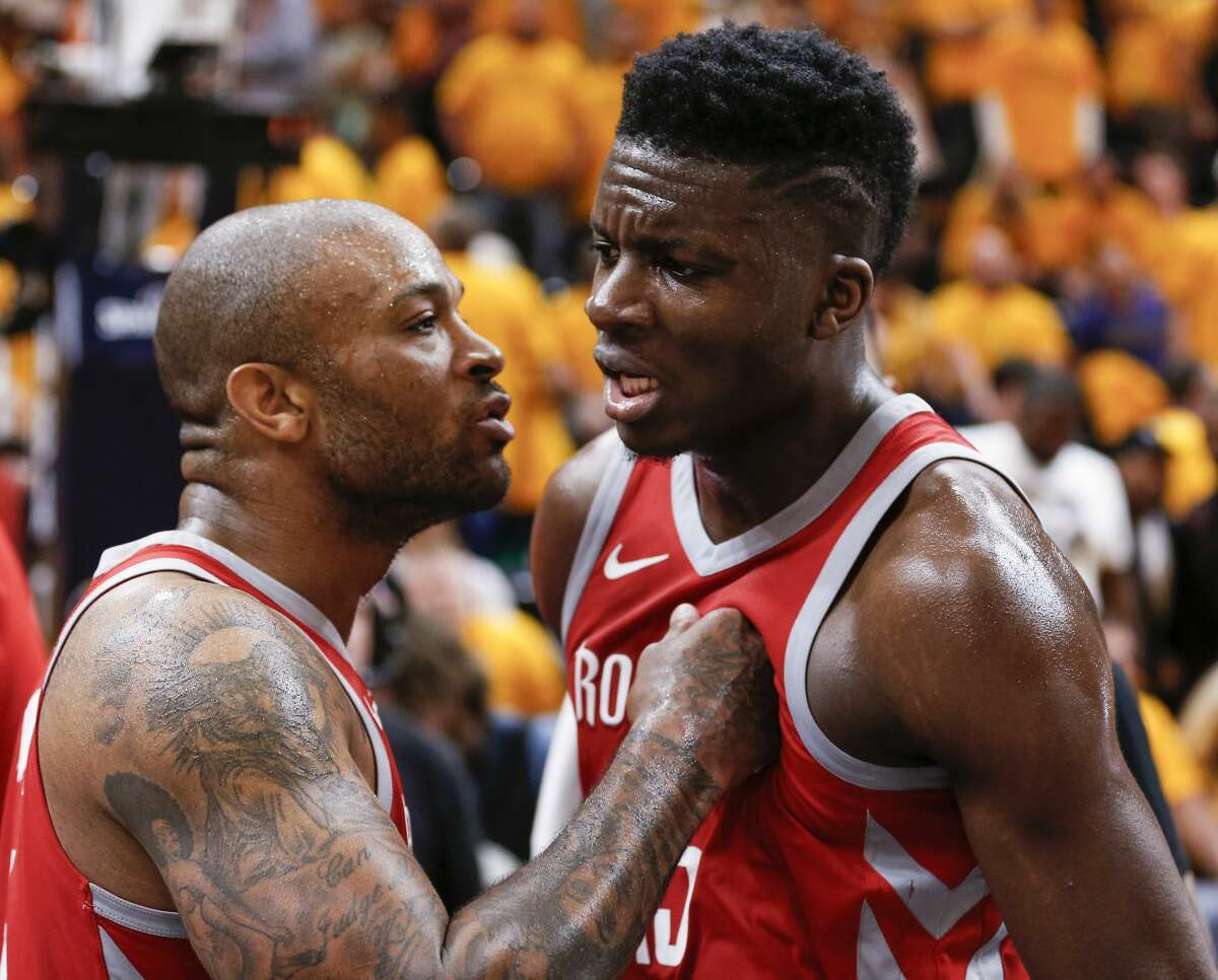 ]Houston Rockets forward PJ Tucker (4) and center Clint Capela (15) embrace at the end of the Rockets 100-87 win over the Utah Jazz in Game 4 of the NBA second-round playoff series at Vivint Smart Home Arena Sunday, May 6, 2018 in Salt Lake City. (Michael Ciaglo / Houston Chronicle)