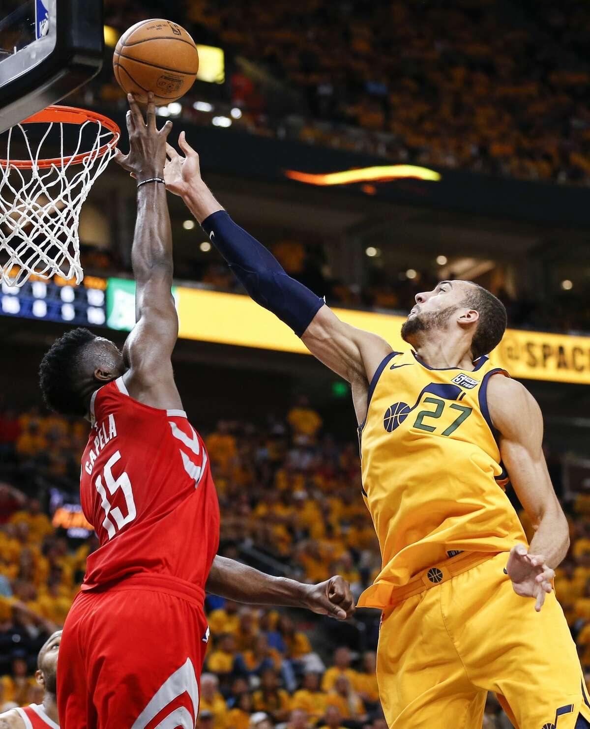 Houston Rockets center Clint Capela (15) blocks a shot by Utah Jazz center Rudy Gobert (27) during the second half of Game 4 of the NBA second-round playoff series at Vivint Smart Home Arena Sunday, May 6, 2018 in Salt Lake City. (Michael Ciaglo / Houston Chronicle)