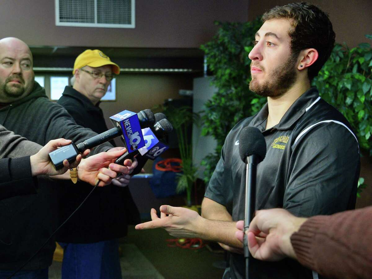 UAlbany lacrosse goalie JD Colarusso speaks with reporters during media day Wednesday Jan. 31, 2018 in Albany, NY. (John Carl D'Annibale/Times Union)