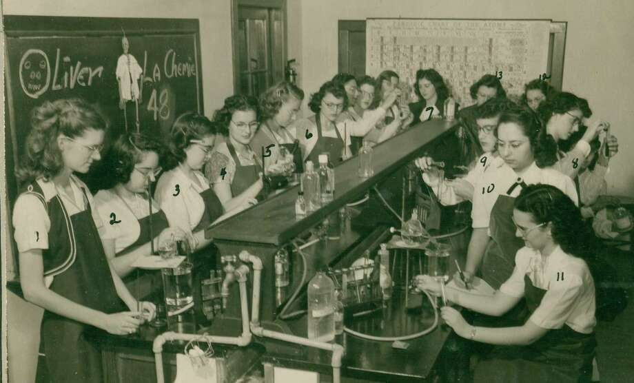 This undated photo shows a group of students in a chemistry class at the former Ursuline Academy. Photo: Courtesy Photo