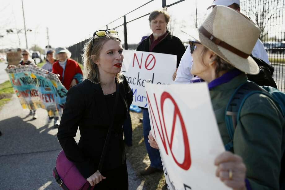 Chelsea Manning speaks with demonstrators at protest against fracking last month in Baltimore. Photo: Patrick Semansky / Associated Press