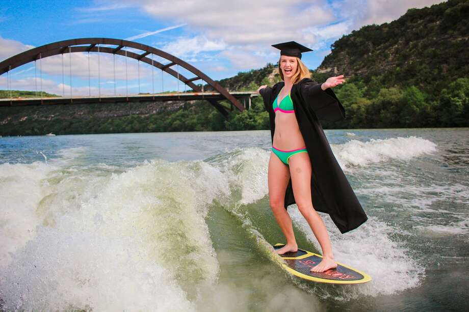 Carly Morris, a senior at the University of Texas in Austin, took her senior photos while wakeboarding.Scroll ahead to see more photos from the shoot. Photo: Kaylin Balderrama