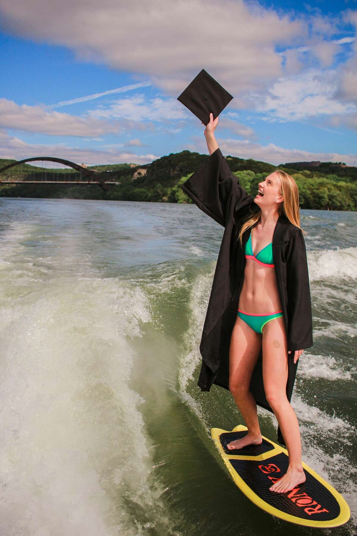 Carly Morris, a senior at the University of Texas in Austin, took her senior photos while wakeboarding.