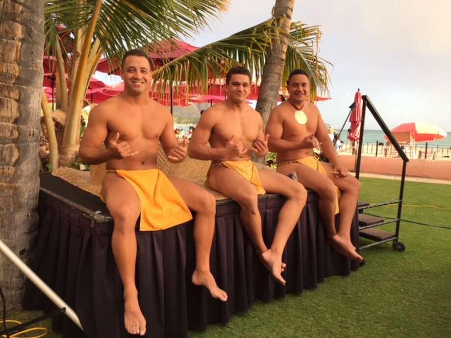 Hosts greet guests at the Royal Hawaiian resort in Waikiki.  Photo: Joy Sewing