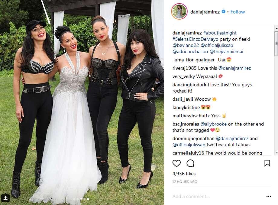 daniajramirez: #aboutlastnight #SelenaCincoDeMayo party on fleek! @bevland22 @officialjulissab @adriennebailon @thejeanniemai Photo: Instagram.com