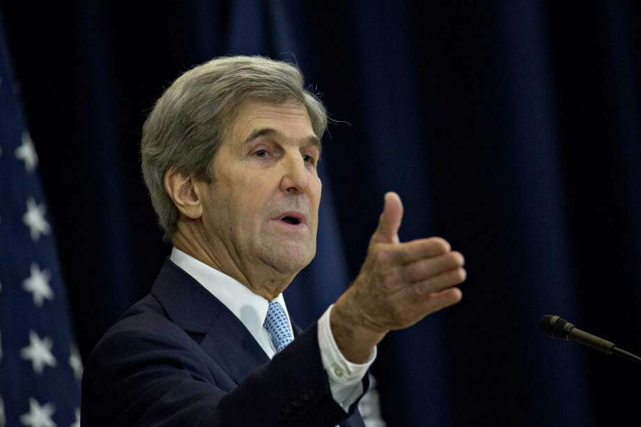 John Kerry speaks at the Department of State in Washington on Dec. 28, 2016. Photo: Bloomberg Photo By Andrew Harrer / Bloomberg