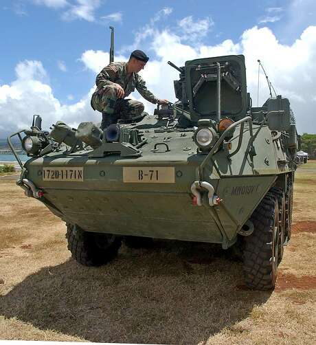 Stryker combat vehicles like this one have been sent to the U.S.-Mexico border to bolster American efforts to stem the flow of undocumented immigrants. Photo: Lucy Pemoni / Associated Press 2004