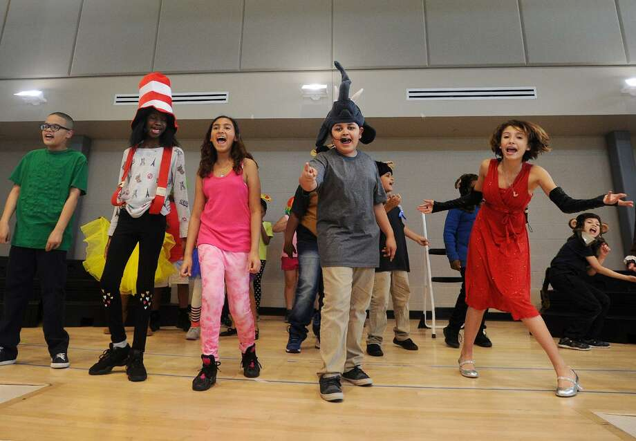 "The cast of the musical ""Seussical Jr."" rehearses on stage at Roosevelt School in Bridgeport, Conn. on Wednesday, May 2, 2018. Photo: Brian A. Pounds / Hearst Connecticut Media / Connecticut Post"