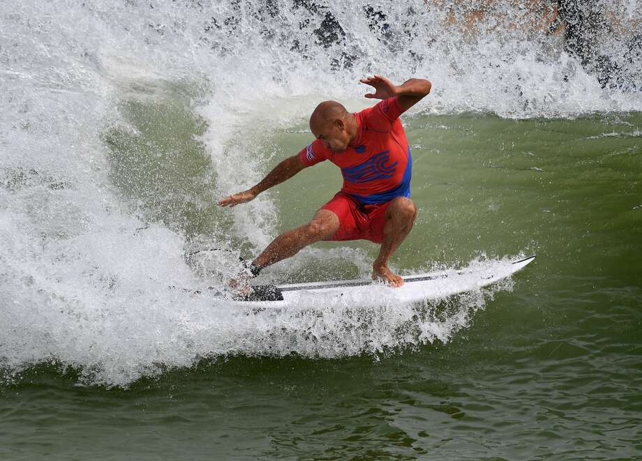 e56ab81d58 Kelly Slater of the US does a cutback during the final of the WSL Founders