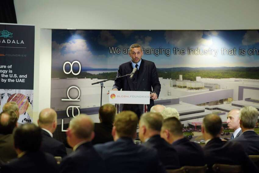 Khaldoon Khalifa Al Mubarak, CEO Mubadala Investment Company, addresses those gathered at an event at GlobalFoundries on Monday, May 7, 2018, in Malta, N.Y. (Paul Buckowski/Times Union)