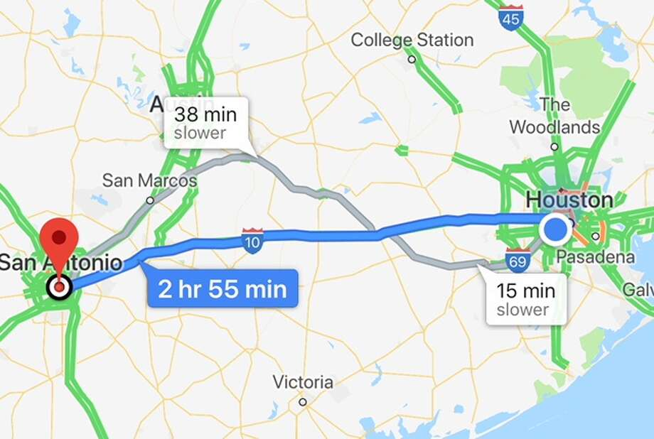 How's the T-Mobile signal between Houston and San Antonio. We hit the road and found out. Photo: Chronicle Screenshot / Google Maps