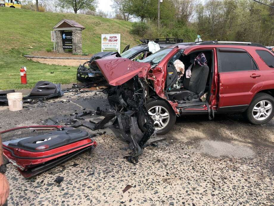 Middetown firefighter worked the scene of a major car accident Saturday on Saybrook Road. Photo: South Fire District Photo