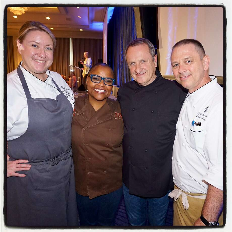 Chefs Norma Whitt (left), Tanya Holland, Gerald Hirigoyen and Cyrille Pannier at the Mission Dolores Academy lunch. Photo: Catherine Bigelow / Special To The Chronicle