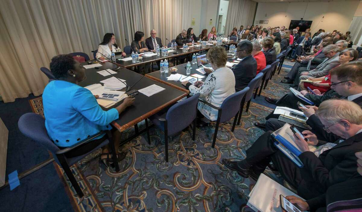 Presentations being made at the Board or Regents monthly meeting at the Education Building Monday May 7, 2018 in Albany, N.Y. (Skip Dickstein/Times Union)
