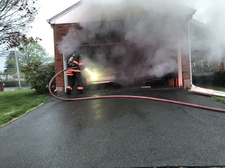 South Fire District crews helped extinguish a garage fire Sunday evening in Middletown. Photo: South Fire District Photo