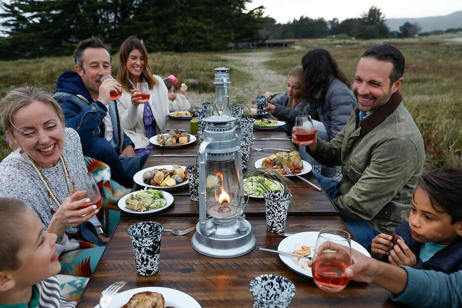 Friends and family gather for a Bodega beach clambake: Colton Mantle (left), Tisa Mantle, James Gray, Sophie Gray, Amelie Gray, Ella Mantle, Maya Knott (head turned), Ethan Mantle, Dylan Knott and Joy Knott (not pictured). Photo: Russell Yip, The Chronicle