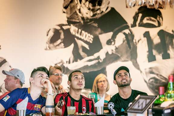 People have lunch and watch sports at NapaSport in Napa, Calif. on May 6th, 2018.