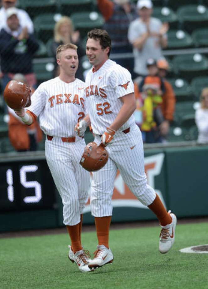 USTIN, TX - APRIL 08: Texas Longhorn infielder Zach Zubia (52) celebrates a home run with Kody Clemens (2) during the Texas Longhorns 4 - 1 win over the Baylor Bears on April 8, 2018 at UFCU Disch-Falk Field in Austin, TX. (Photo by John Rivera/Icon Sportswire via Getty Images) Photo: GETTY IMAGES