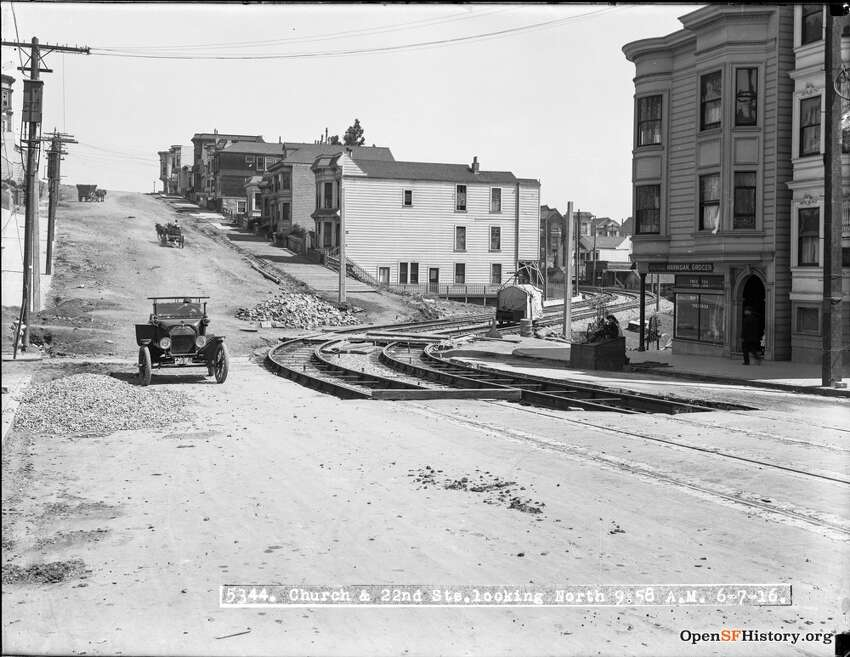 Church and 22nd as it appeared in June of 1916. The construction of the J-Church line can be seen on the right.   Photo courtesy of OpenSFHistory.