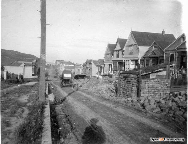 A view of 23rd Street near Eureka after the 1906 earthquake. The brick structure on the right is an outdoor kitchen.  Photo courtesy ofOpenSFHistory. Photo: OpenSFHistory/Courtesy