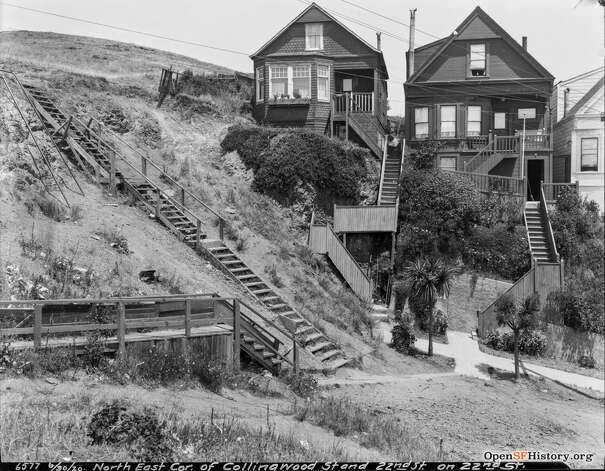 A view of Collingwood and 22nd streets. Those two homes, next to a staircase up the hill, are still there today. Photo: OpenSFHistory/Courtesy
