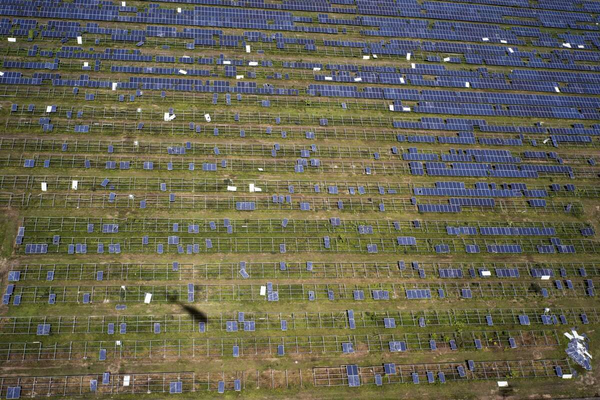 Solar panels damaged during Hurricane Maria on the eastern edge of Puerto Rico on Feb. 4, 2018. It took months to restore electricity in Puerto Rico after hurricanes dealt a one-two punch, and the system's future is far from certain. (Todd Heisler/The New York Times)