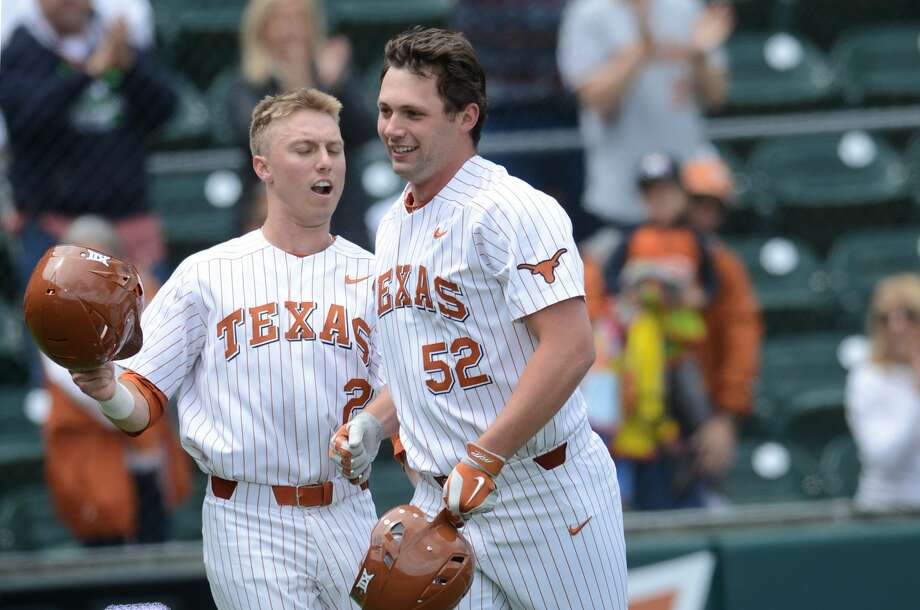 AUSTIN, TX - APRIL 08: Texas Longhorn infielder Zach Zubia (52) celebrates a home run with Kody Clemens (2) during the Texas Longhorns 4 - 1 win over the Baylor Bears on April 8, 2018 at UFCU Disch-Falk Field in Austin, TX. (Photo by John Rivera/Icon Sportswire via Getty Images) Photo: Icon Sportswire/Icon Sportswire Via Getty Images