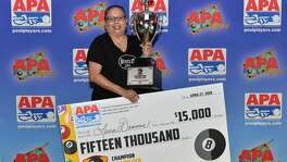 Lena Dommes won the 2018 APA 8-Ball Classic Pool Championship in late April in Las Vegas. (Courtesy    American Poolplayers Association)